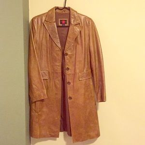 Gallery Brown leather trench